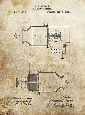Thomas Edison Speaking Telegraph Patent Poster by Dan Sproul
