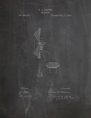 Thomas Edison Telephone Patent Poster by Dan Sproul