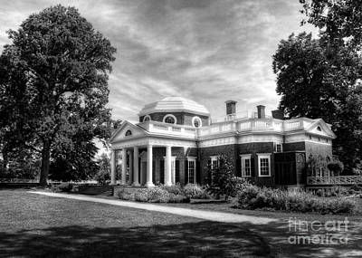 Thomas Jefferson's Home Bw Poster by Mel Steinhauer