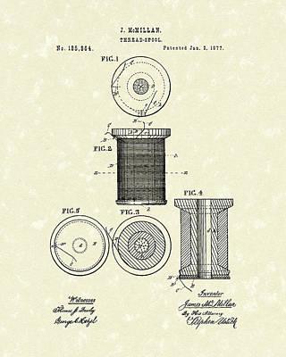 Thread Spool 1877 Patent Art Poster by Prior Art Design