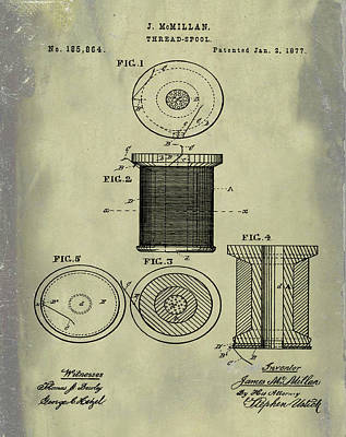 Thread Spool Patent 1877 Weathered Poster by Bill Cannon