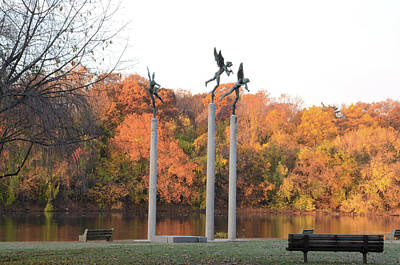 Three Angels - Autumn On The Schuylkill Poster by Bill Cannon