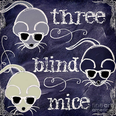 Three Blind Mice Children Chalk Art Poster by Mindy Sommers