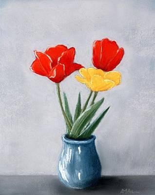 Three Flowers In A Vase Poster by Anastasiya Malakhova