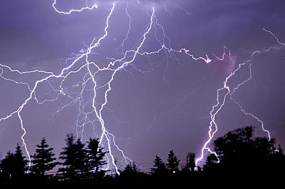 Three Frames Of Lightning Hitting Cedar Hills Area Poster by Utah-based Photographer Ryan Houston