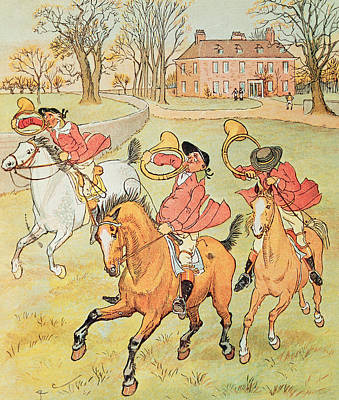Three Jovial Huntsmen Poster by Randolph Caldecott