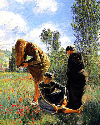 Three Ladies In A Field Poster by John Vincent Palozzi