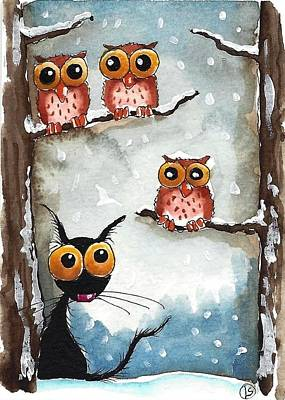 Three Owls And A Cat Poster by Lucia Stewart
