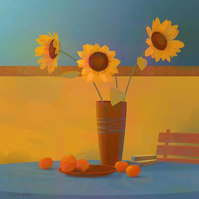 Three Sunflowers Poster by Adam Gaba
