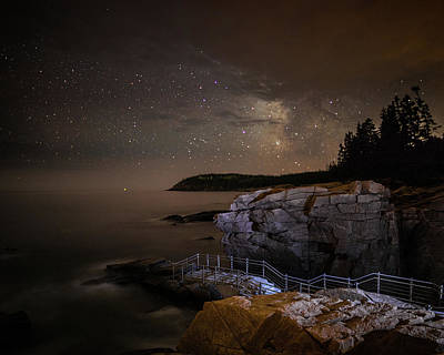 Thunder Hole Under The Stars Poster by Brent L Ander
