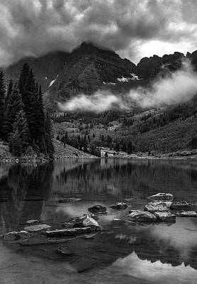 Thunder Rolls On The Maroon Bells    Poster by Thomas Schoeller