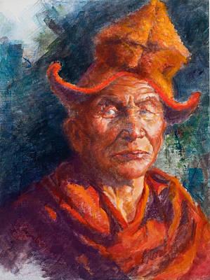Tibetan Monk Poster by Ellen Dreibelbis