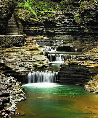 Tiered Waterfalls At Watkins Glen Poster by Optical Playground By MP Ray
