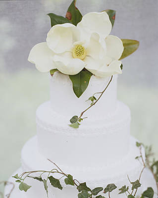 Tiered Wedding Cake With Flower On Top Poster by Gillham Studios