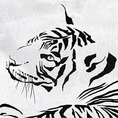 Tiger Animal Decorative Black And White Poster 8 - By  Diana Van Poster by Diana Van