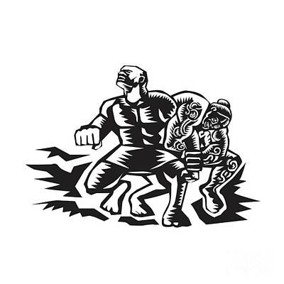 Tiitii Wrestling God Of Earthquake Woodcut Poster by Aloysius Patrimonio