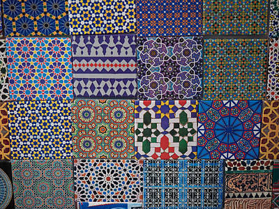 Tiles For Sale In Market, Essaouira Poster by Panoramic Images