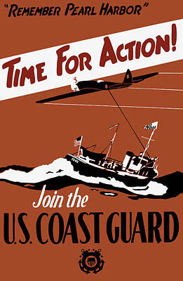 Time For Action - Join The Us Coast Guard Poster by War Is Hell Store