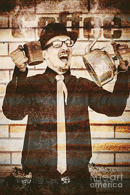 Tin Sign Of An Old Coffeehouse Employee  Poster by Jorgo Photography - Wall Art Gallery