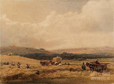 Title A Hayfield In Yorkshire Poster by Peter De Wint