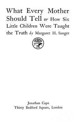 Title Page Of Margaret Sanger Poster by Wellcome Images