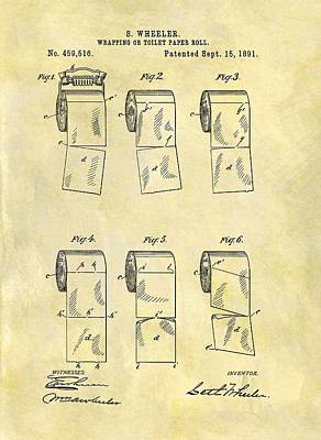 Toilet Paper Patent Illustration Poster by Dan Sproul