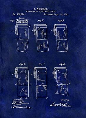 Toilet Paper Roll Patent Blue Poster by Dan Sproul