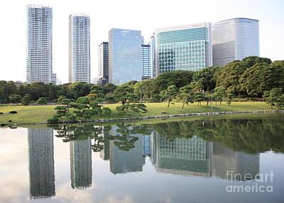 Tokyo Skyline Reflection Poster by Carol Groenen