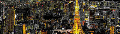 Tokyo Tower Panorama Poster by Stefano Carniccio