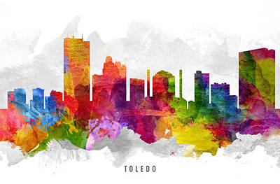 Toledo Ohio Cityscape 13 Poster by Aged Pixel
