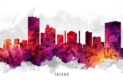 Toledo Ohio Cityscape 14 Poster by Aged Pixel