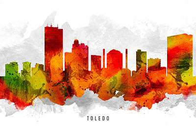 Toledo Ohio Cityscape 15 Poster by Aged Pixel