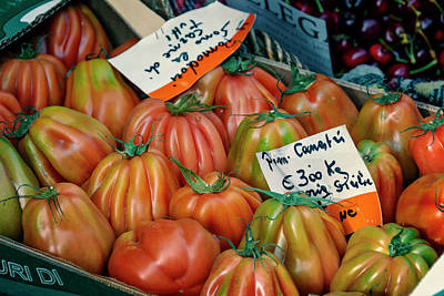 Tomatoes At Market Poster by Joan Carroll