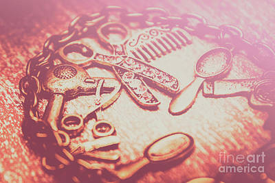 Toned Image Hair Styling Toys Surrounded By Chain On Table Poster by Jorgo Photography - Wall Art Gallery