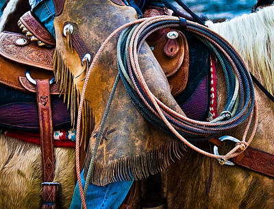 Tools Of The Trade - Cowboy Saddle Closeup - Casper Wyoming Poster by Diane Mintle