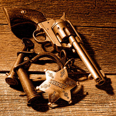 Tools Of Western Justice - Sepia Poster by Olivier Le Queinec
