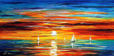 Touch Of Horizon 2 - Palette Knife Oil Painting On Canvas By Leonid Afremov Poster by Leonid Afremov