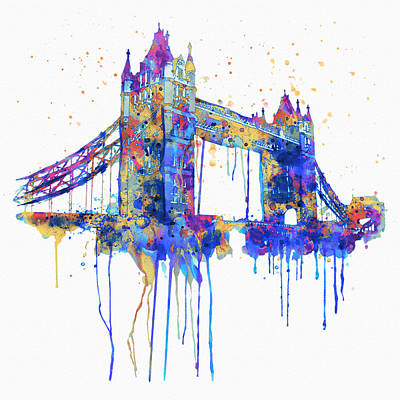 Tower Bridge Watercolor Poster by Marian Voicu