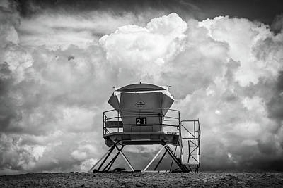 Towering In The Clouds Black And White Poster by Peter Tellone