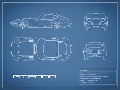Toyota Gt2000 Blueprint Poster by Mark Rogan