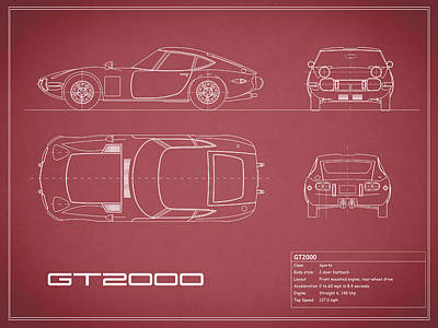 Toyota Gt2000 Blueprint Red Poster by Mark Rogan