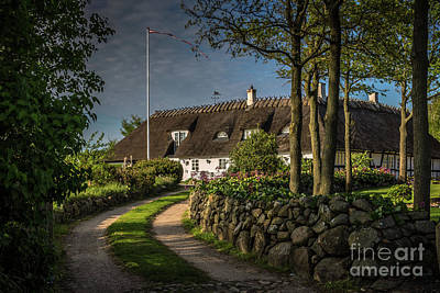 Traditional Danish House Under A Straw Roof Poster by Anna Soelberg