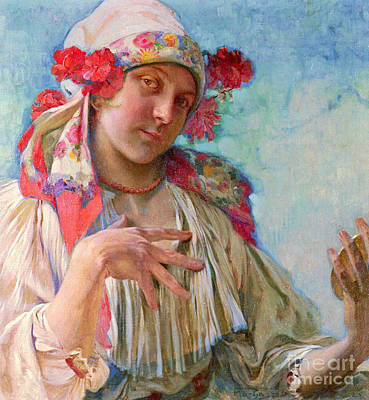 Traditional Moravian Fashion 1920 Poster by Padre Art