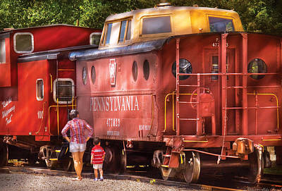 Train - Car - Pennsylvania Northern Region Caboose 477823 Poster by Mike Savad