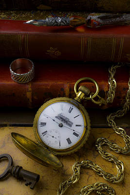 Train Pocket Watch And Old Books Poster by Garry Gay