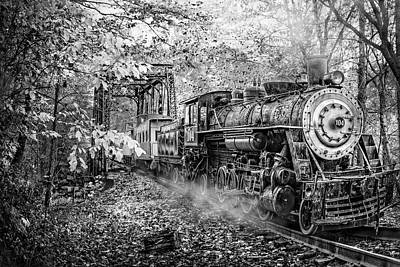 Train's Coming Black And White Poster by Debra and Dave Vanderlaan