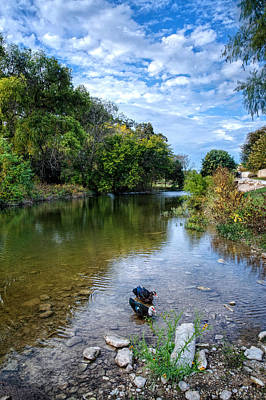 Tranquil Reflections On Cibolo Creek Poster by Lynn Bauer
