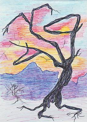 Tree In Sunset Poster by Suzanne  Marie Leclair