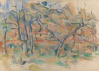 Trees And Houses Poster by Paul Cezanne