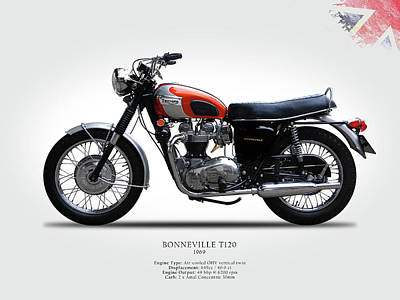 Triumph Bonneville 1969 Poster by Mark Rogan